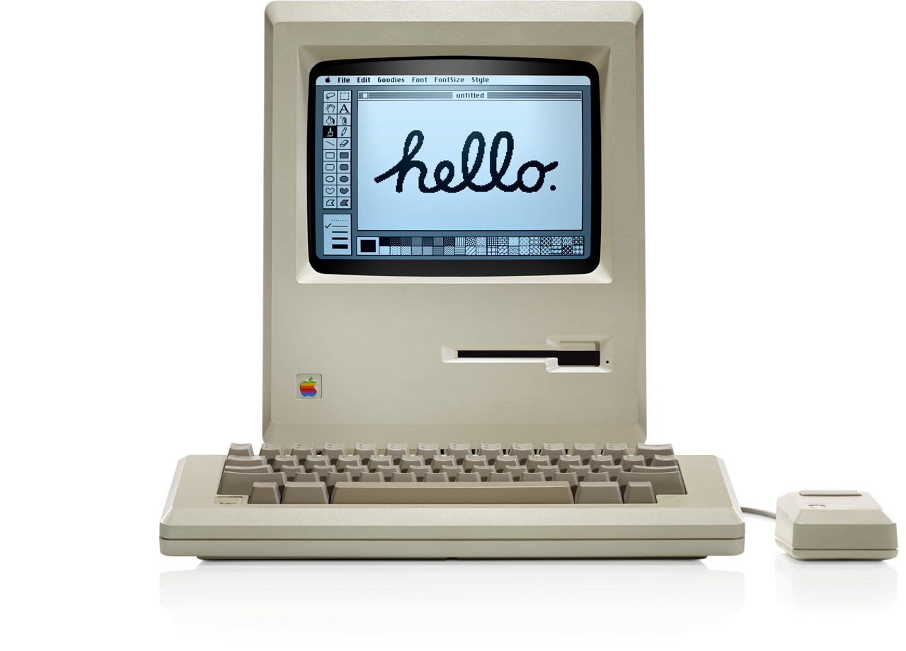 "Figure 4: The iconic ""hello"" screen on the 1984 Macintosh from Apple."