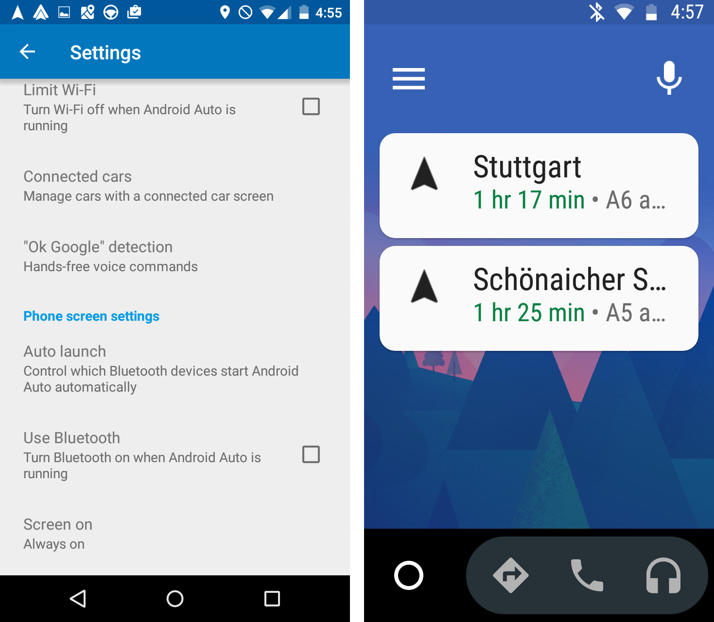 Figure 29: Google Android Auto – settings auto launch when Bluetooth connects (left). Google Android Auto – home screen with navigation recommendations (right).