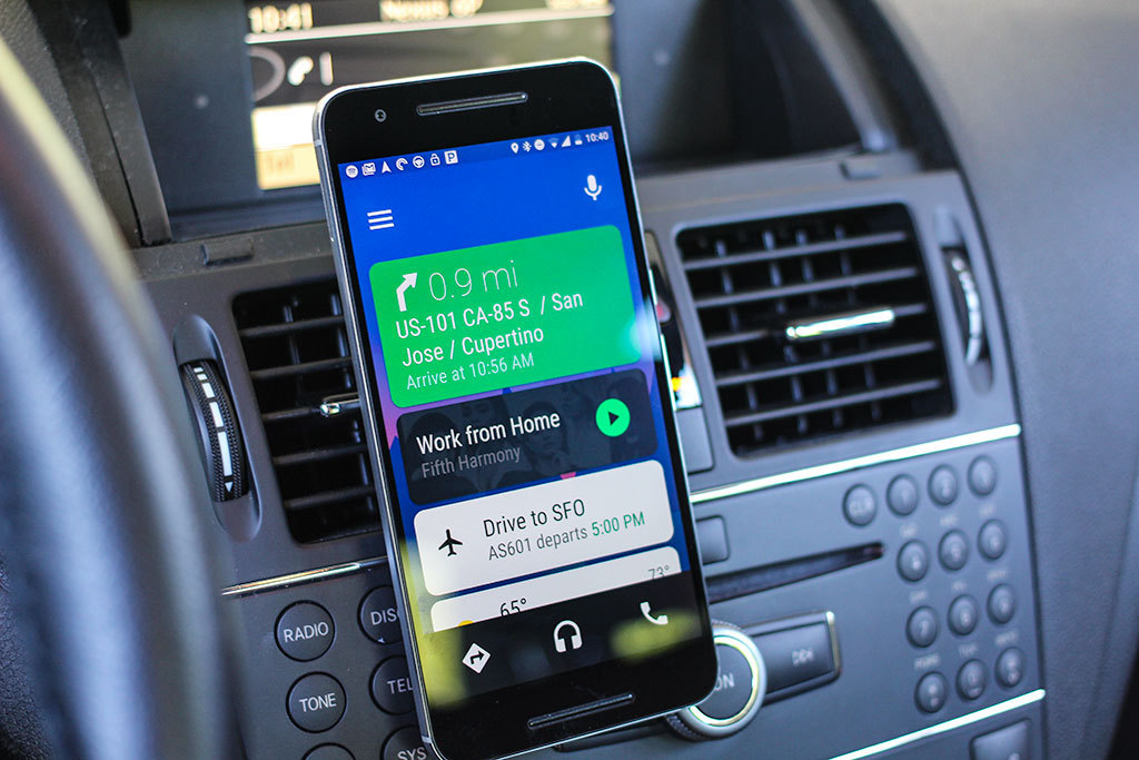 Figure 30: Google Android Auto – home screen inside car.