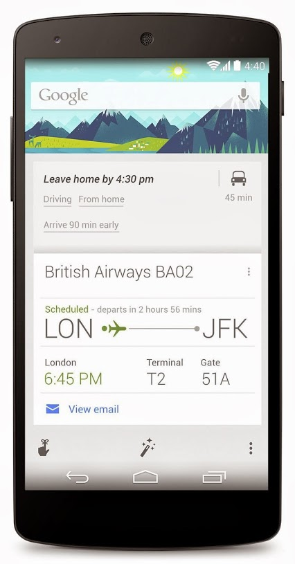 Figure 20: Google Now on Android with additional information provided to a flight.