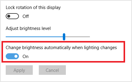 Figure 27: Display & Brightness settings (Windows 10)