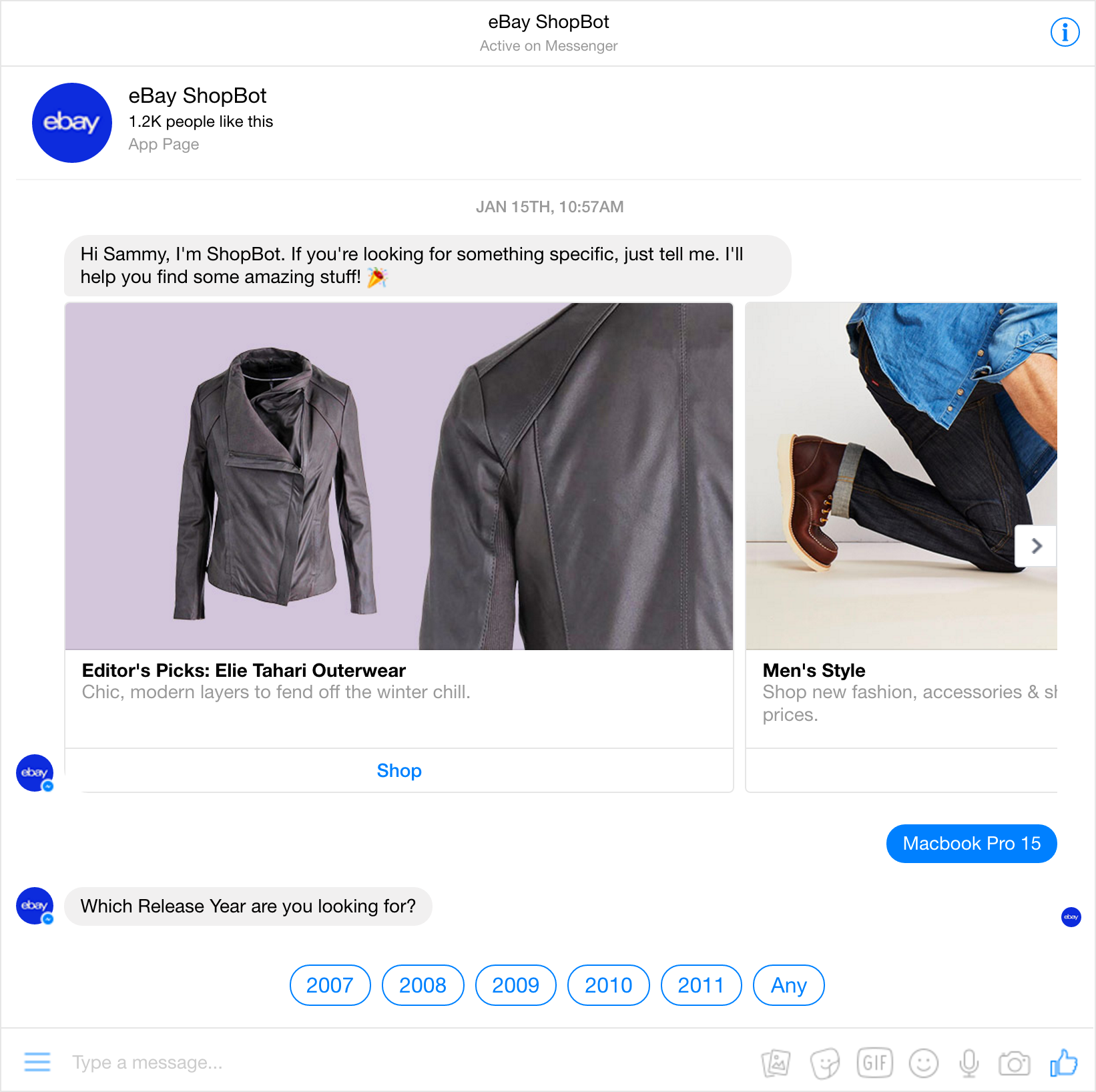 Figure 24: eBay Shopping Bot inside Facebook Messenger