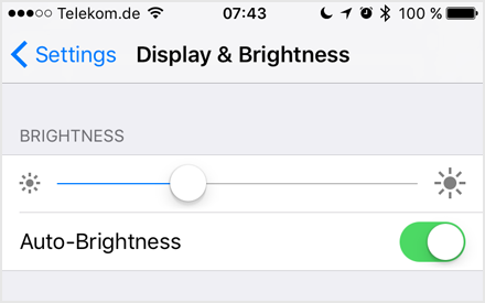 Figure 26: Display & Brightness settings (iOS 10)