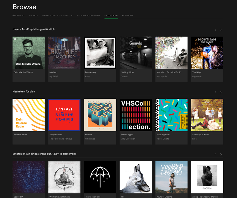 Figure 21: Spotify Browse with personalized content.