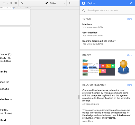 Figure 63: Google Docs Explore; provide insights to the user why Google picked certain topics