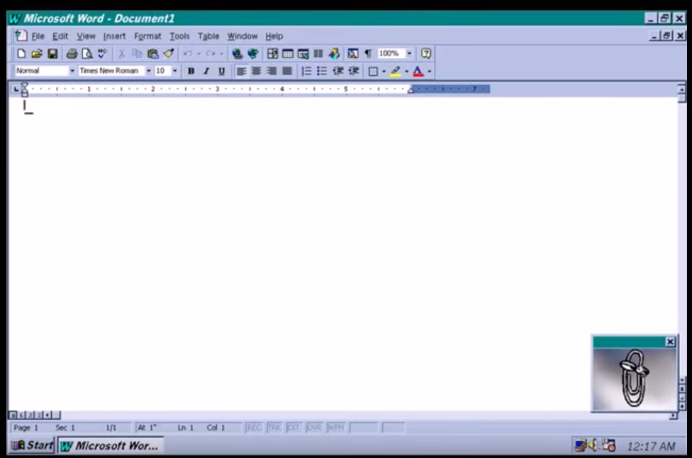 "Figure 44: The office assistant ""Clippy"" of Microsoft Office 97 on Windows 95; https://youtu.be/E7DmNcQAnKI"