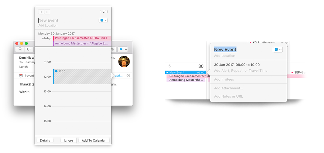 Figure 60 & 61: Side-by-side comparison of consitency while adaptation. (left) Apple Mail found an event inside an email, providing a shortcut to add calendar event. (right) Apple Calendar; manually adding an event. Both, adaptive & direct manipulation use the same interface for adding an event to the calendar