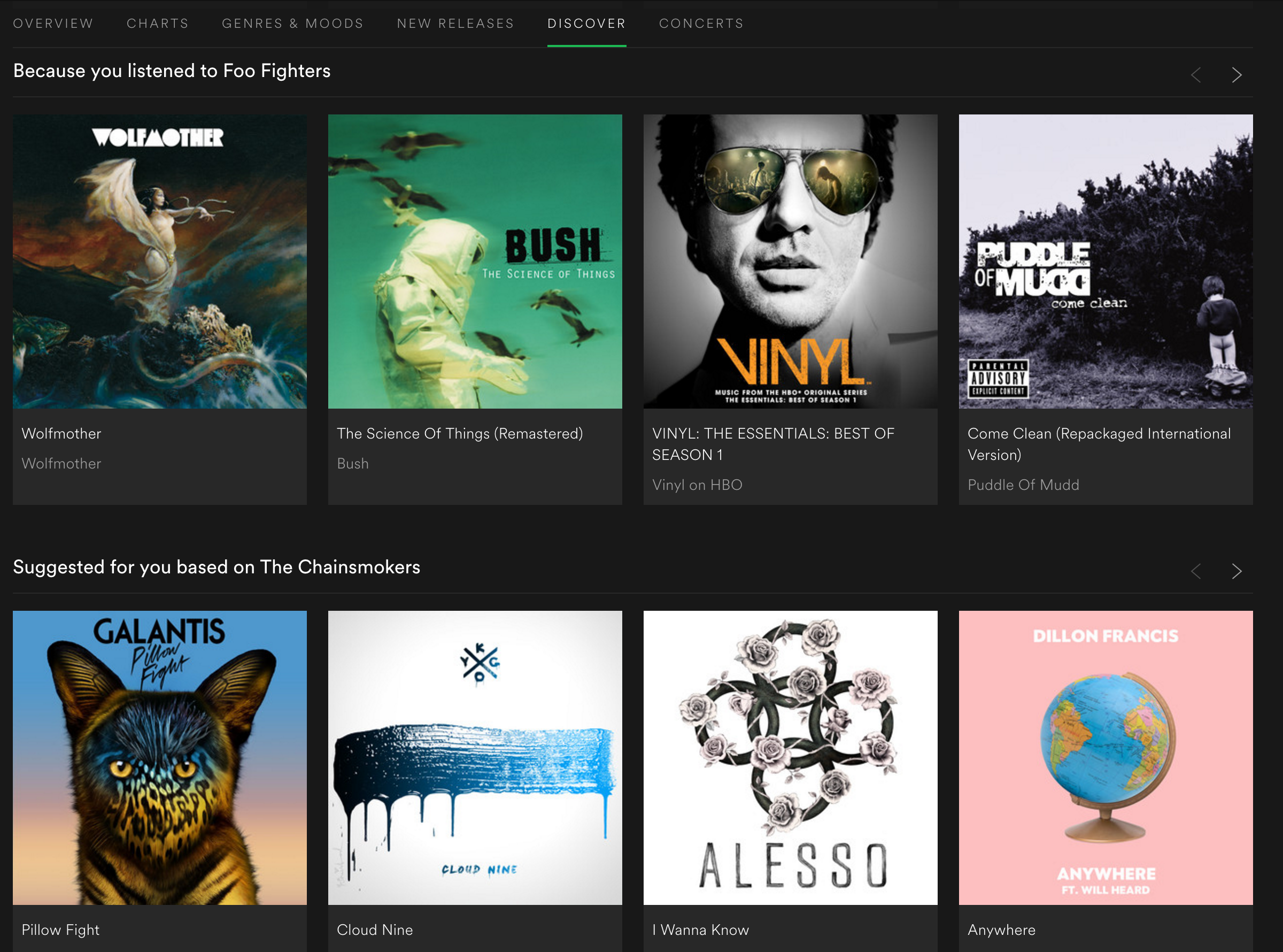 Figure 62: Spotify providing context to recommendations